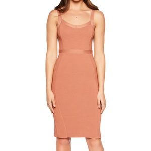 BARDOT Katy Bodycon Taupe Sweater Mini Dress